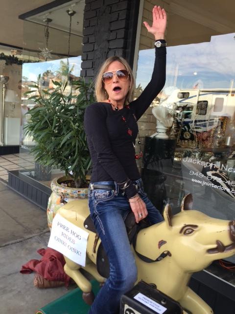 Alyson rides a Hog!!!